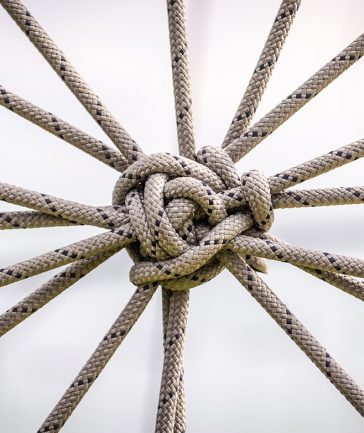 many ropes and one big knot closeup